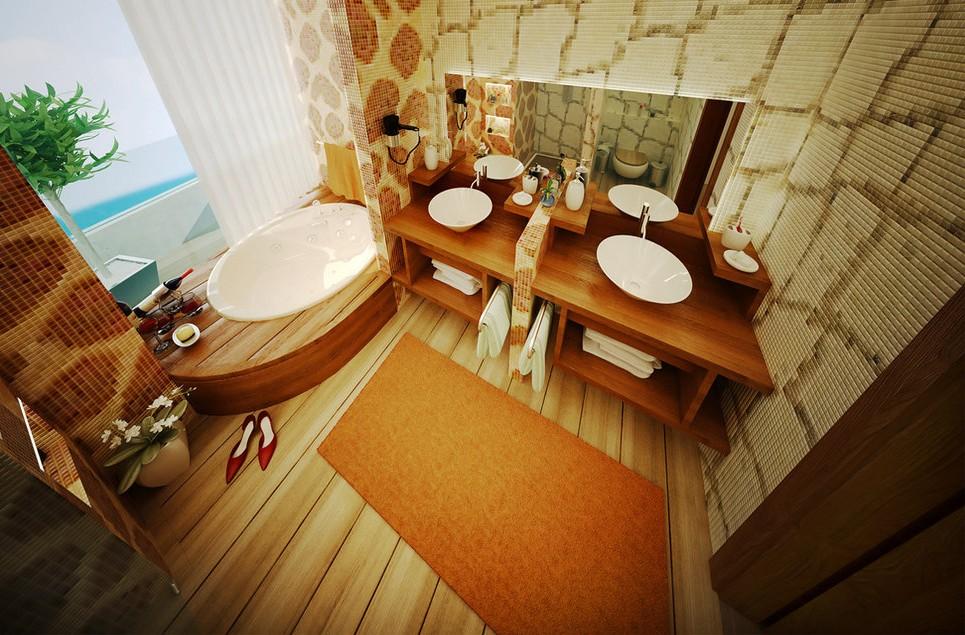 Фото ванной комнаты маленького размера.